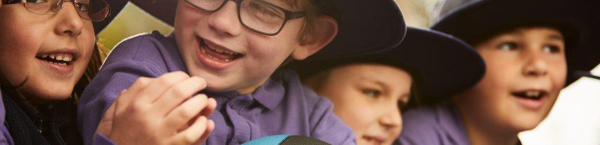 Kids in hats at a SunSmart School