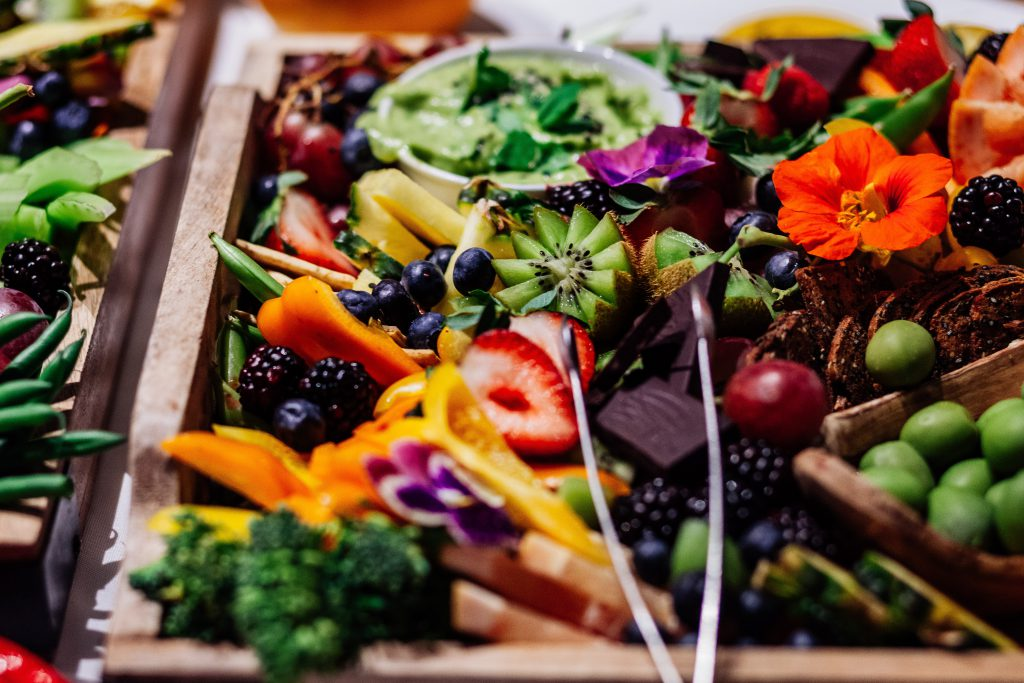 Fruit and vegetables bring colour and nutrition to a morning tea spread.